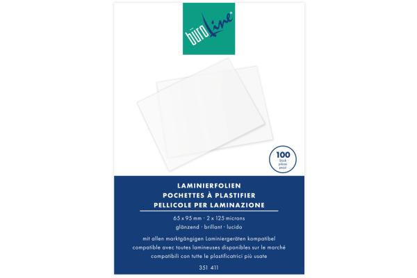 BÜROLINE Laminierfolie 65x95mm 351411 125my, glanz 100 Stück