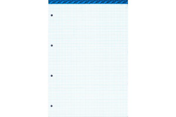 BÜROLINE Büroblock weiss gelocht A4 543184 kariert,4mm, 80g 100 Blatt