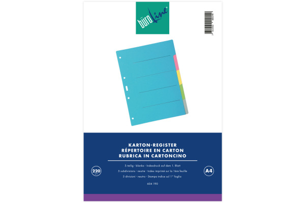 BÜROLINE Register Karton farbig A4 604190 5-teilig