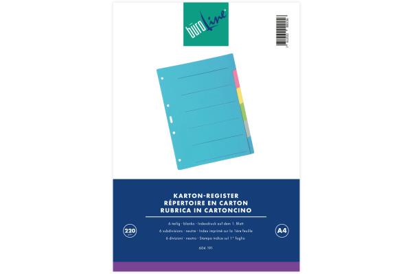 BÜROLINE Register Karton farbig A4 604191 6-teilig