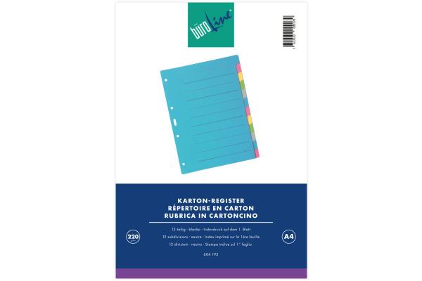 BÜROLINE Register Karton farbig A4 604193 12-teilig