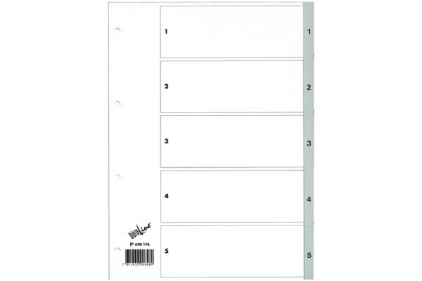BÜROLINE Register PP grau A4 620176 1-5