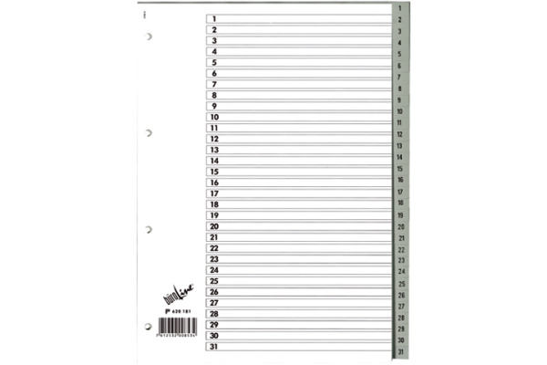 BÜROLINE Register PP grau A4 620181 1-31