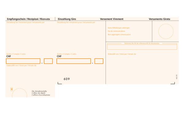 BÜROLINE Einzahlungsschein ESR A4 623000 orange, 90g, Rahmen 500 Stück