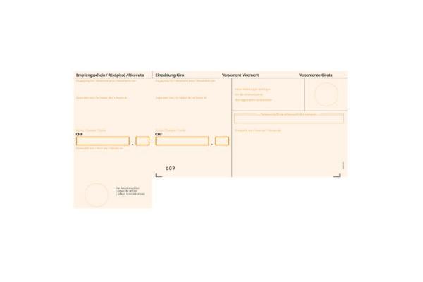 BÜROLINE Einzahlungsschein BESR A4 623001 orange, 90g, Rahmen 500 Stück