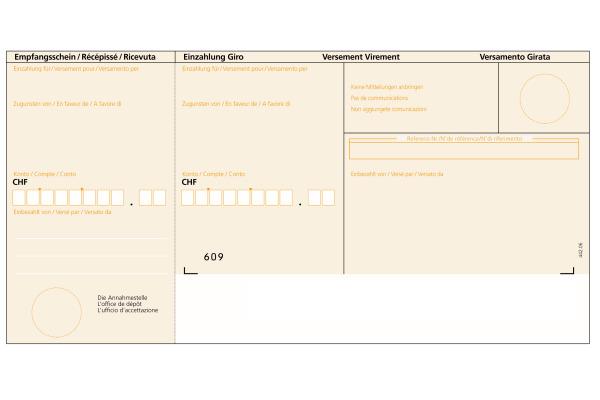 BÜROLINE Einzahlungsschein BESR A4 623003 orange, 90g, box 500 Stück