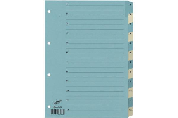 BÜROLINE Register Karton blau/beige A4 663404 1-12