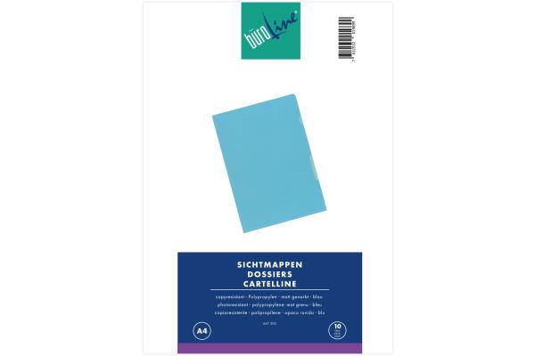 BÜROLINE Sichtmappen PP A4 667302 blau, matt 10...