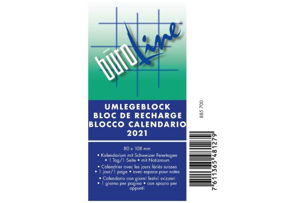 BÜROLINE Umlegeblock 1T/S Lochung 70mm 88570000 D/F/I, 8x10.8cm, 2021