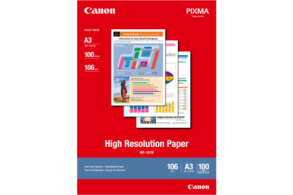 CANON Papier High Resolution A3 HR101NA3 InkJet 110g 100 Blatt