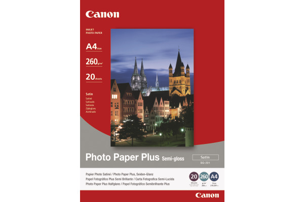 CANON Photo Paper Plus 260g A4 SG201A4 PIXMA, semi-glossy 20 Blatt