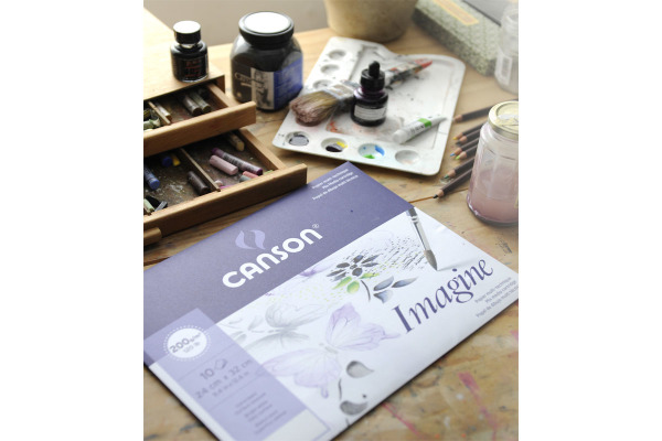 CANSON Imagine Zeichenpapierblöcke A3 200006007 200g, weiss 50 Blatt