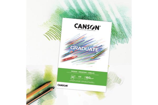 CANSON Zeichenblock Graduate A4 400110365 30 Blatt, Zeichnen, 160g