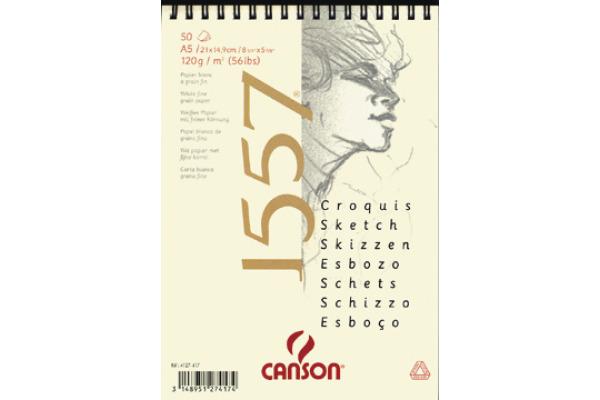 CANSON Skizzenpapier A5 4127-417 120g, weiss 50 Blatt