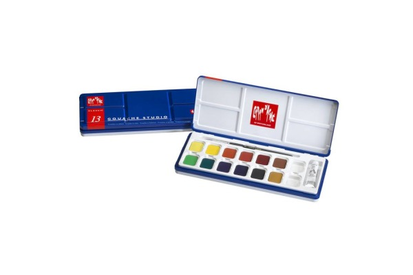 CARAN D´A Deckfarbe Gouache 1000.413 12 Farben Deckweiss