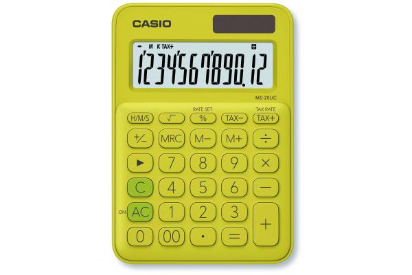 CASIO Mini Taschenrechner MS20UCYG 12-stellig gelb/grün
