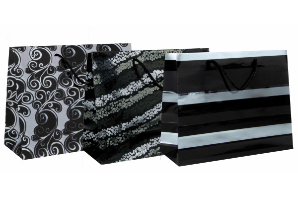 CLAIREFON Shopping Bag 32x13x25cm 212827C schwarz/silber