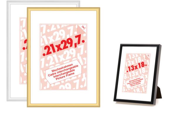 DEBEX Wechselrahmen 21x29.7cm 9047.01 2 Alu, schwarz