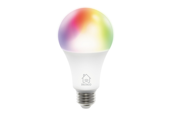 DELTACO Smart LED RGB light E27, 9W SHLE27RGB white, dimmable, WiFi 2.4GHz