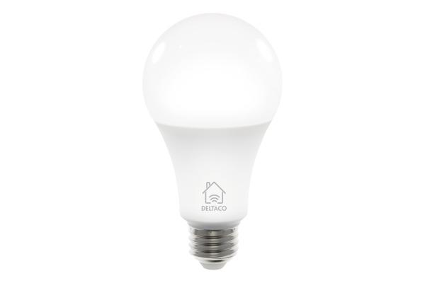 DELTACO Smart LED light E27, 9W SHLE27W white, dimmable, WiFi 2.4GHz