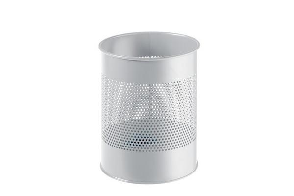 DURABLE Papierkorb rund 15L/P165mm 331010 grau, Stahl 315x260mm