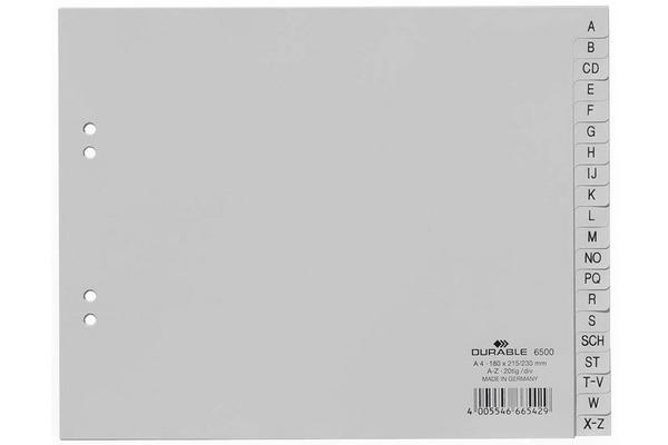 DURABLE Register PP grau A4 6500 10 A-Z teildeckend