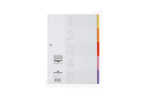 DURABLE Register Varicolor 673227 PP, Universallochung,5-teilig