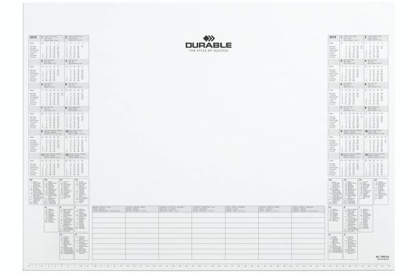 DURABLE Schreibunterlage 57x41cm 7292-02 Kalenderblock weiss