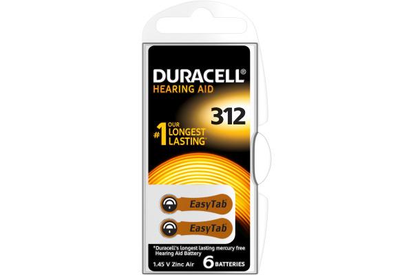 DURACELL Hörgeräte Batterie Easy Tab 4-077573 312, ZincAir D6,1.4V. 6 Stk.