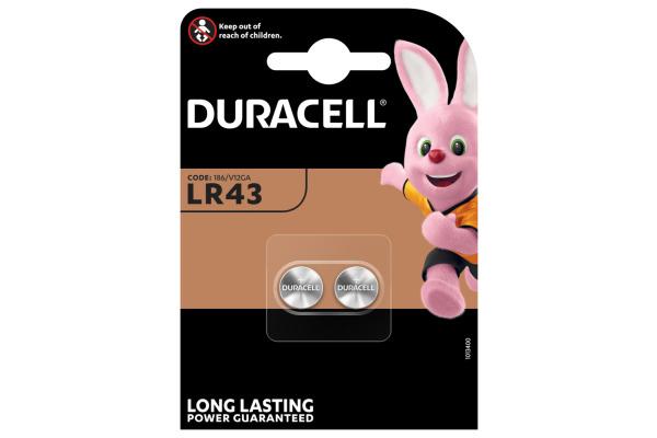 DURACELL Knopfbatterie Specialty LR43 LR43, 1.5V 2 Stück