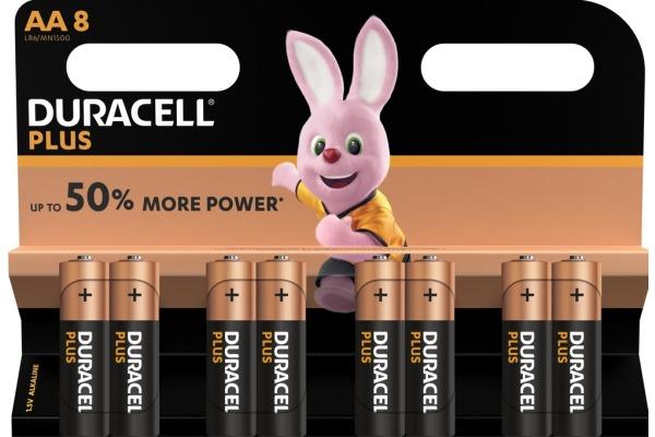 DURACELL Batterie Plus Power MN1500 AA, LR6, 1.5V 8...