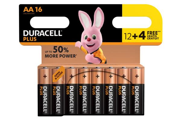DURACELL Batterie Plus Power MN1500 AA, LR6, 1.5V 16...