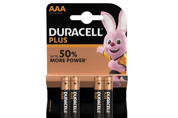 DURACELL Batterie Plus Power MN2400 AAA, LR03, 1.5V 4...