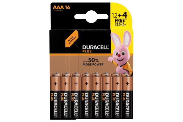 DURACELL Batterie Plus Power MN2400 AAA, LR03, 1.5V 16...