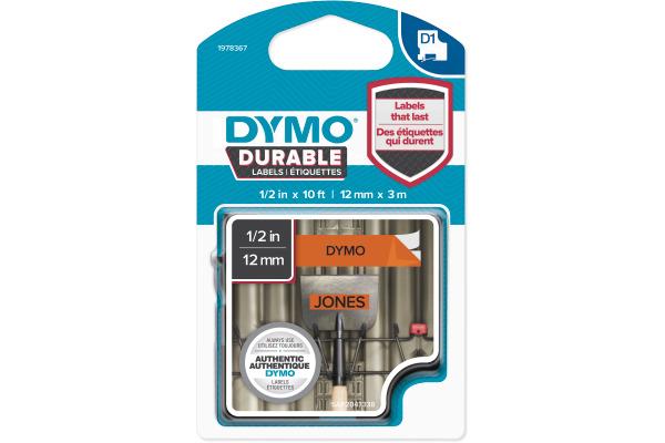 DYMO D1 Vinyl Band 12mmx3m 1978367 schwarz orange