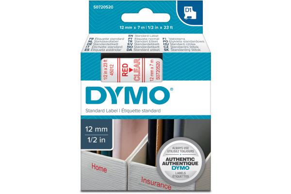 DYMO Schriftband D1 rot transparent S0720520 12mm 7m