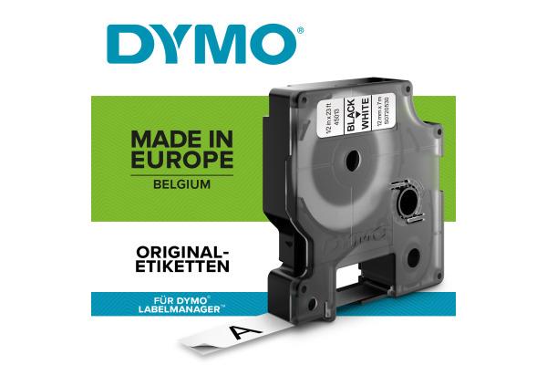 DYMO Schriftband D1 schwarz weiss S0720530 12mm 7m