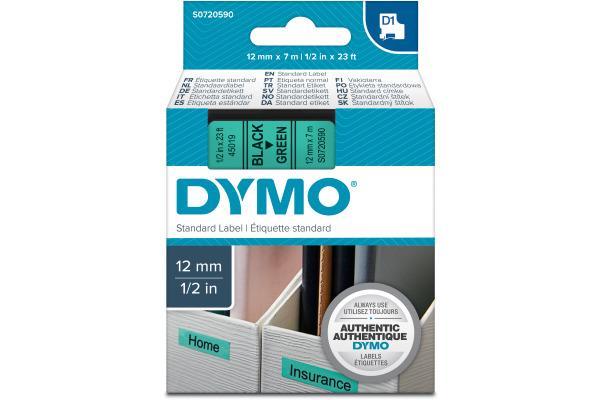 DYMO Schriftband D1 schwarz grün S0720590 12mm 7m