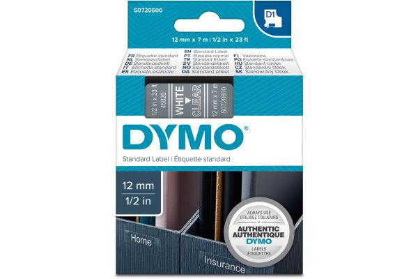 DYMO Schriftband D1 weiss transparent S0720600 12mm 7m