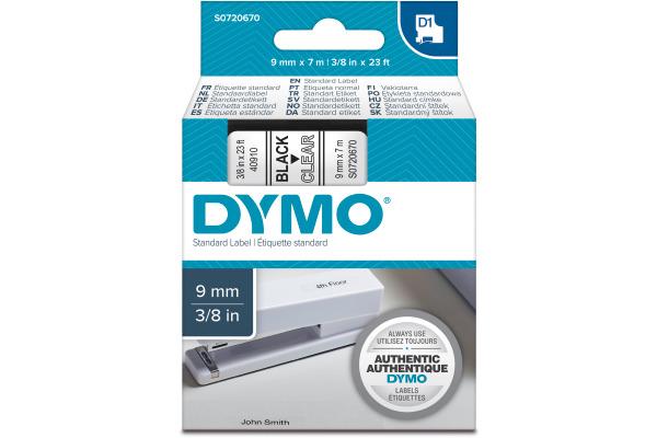 DYMO Schriftband D1 schwarz transparent S0720670 9mm 7m