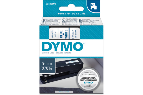 DYMO Schriftband D1 S0720690 blau weiss 9mm 7m