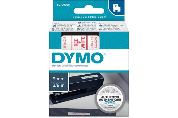 DYMO Schriftband D1 rot/weiss S0720700 9mm/7m