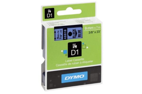 DYMO Schriftband D1 schwarz blau S0720710 9mm 7m