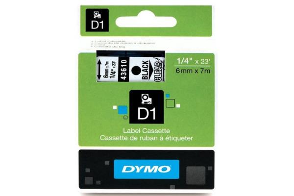 DYMO D1 Schriftbandkassette schwarz transparent, 6 mm x 7 m