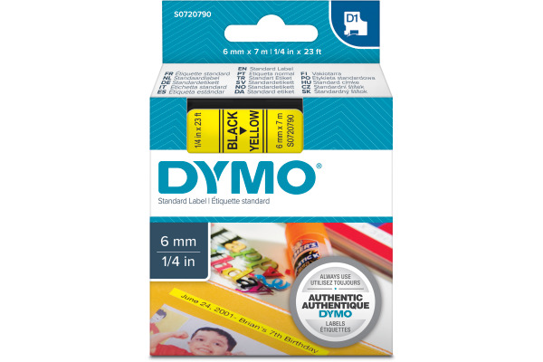 DYMO Schriftband D1 S0720790 schwarz gelb 6mm 7m