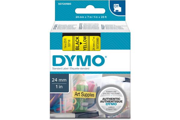 DYMO Schriftband D1 schwarz gelb S0720980 24mm 7m