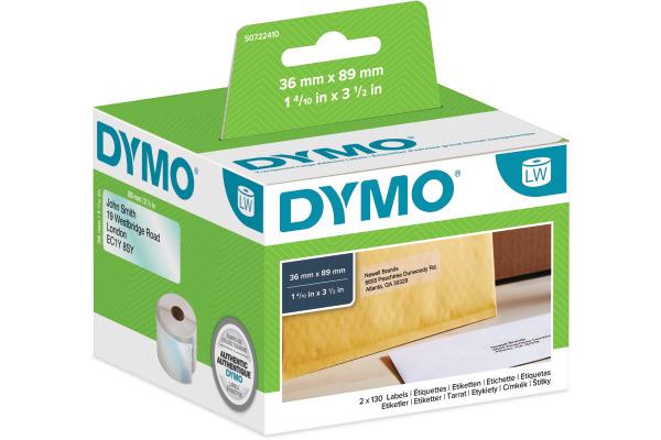 DYMO Adressetiketten PP 89x36mm S0722410 transparent,...