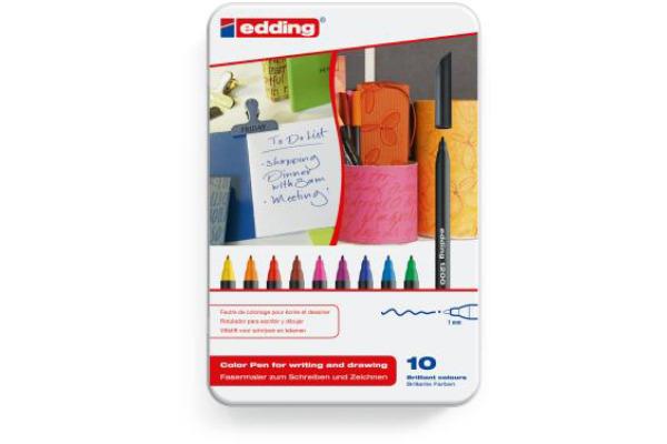 EDDING Faserschreiber 1200 Met. 1mm 1200-E10 10 Stück assortiert Etui