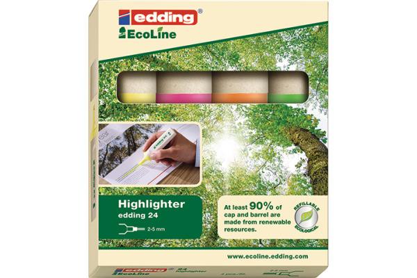 EDDING EcoLine Textmarker 24 2-5mm 24-E4 4-farbig