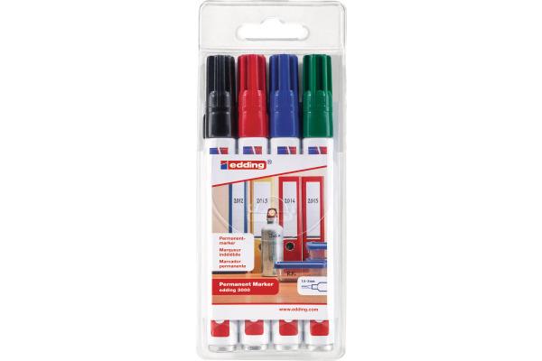 EDDING Permanent Marker 3000 1.5-3mm 3000-E4 4 Farben ass.